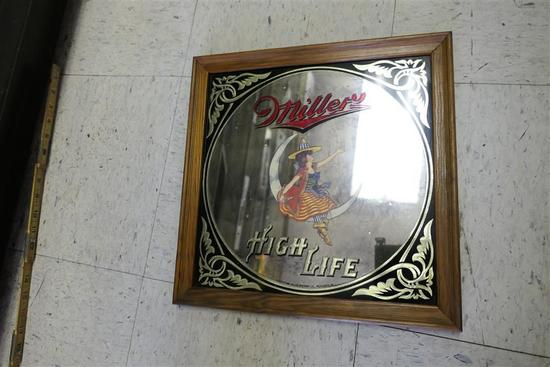 Vintage Miller Beer Mirrror Bar Sign