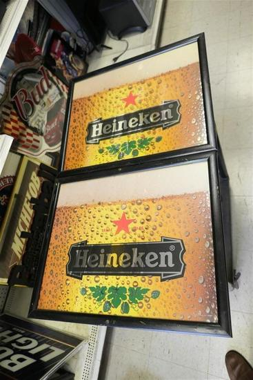 2 Heineken Mirror Bar Signs