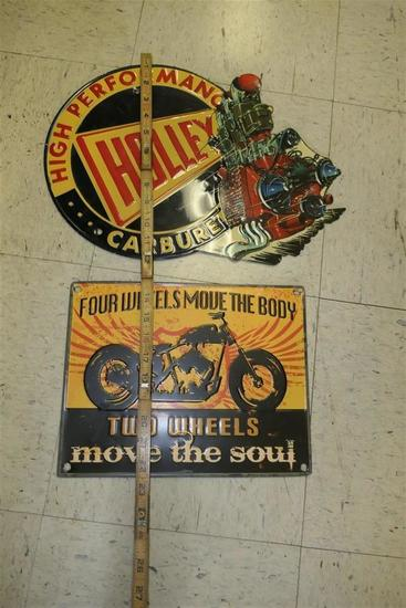 Two vintage style motorcyle/car signs