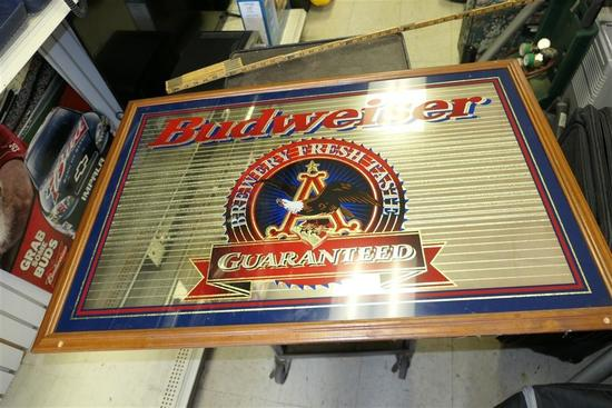 Large Budweiser Beer Mirror Bar Sign