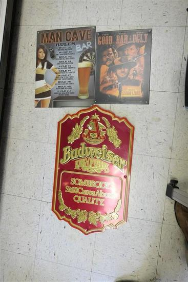 3 Bar Signs Inc. Metal Budweiser