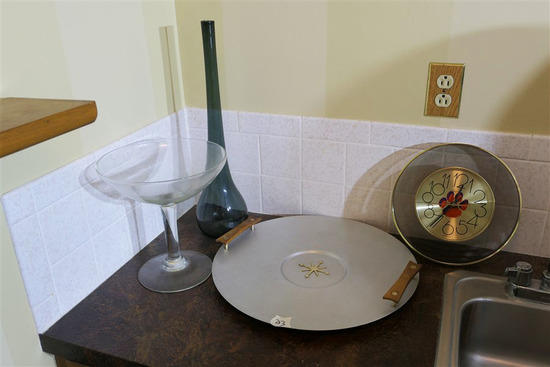 Midcentury Glass, Metal Ietms on Counter