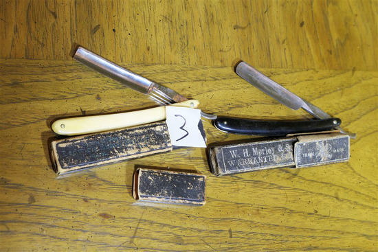 Two Antique Straight Razors in Boxes