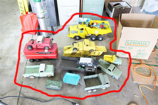 Large Lot Old Metal Toy Trucks