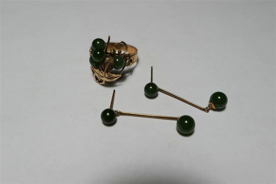 14k Gold, Jade Ring, Earrings