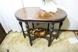 Antique table plus wood carvings
