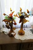2 Blown Glass Italian Flower Boquets