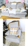 Upholstered couch and chair