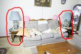 2 oak Lamp tables w/lamps