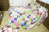 Large vintage hand stitched comforter
