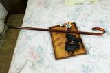 Binoculars, tray, cane etc lot