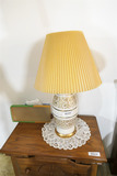 Pair of vintage lamps with gold trim