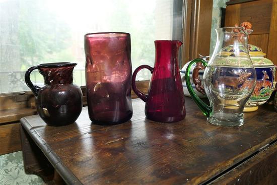 4 pieces vintage glass inc. blown