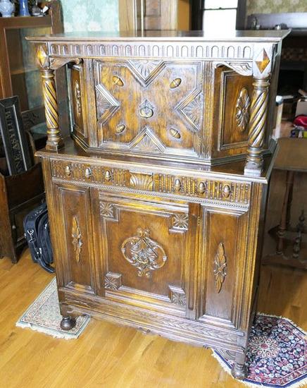 Antique Baronial Cabinet w/Barley Twists