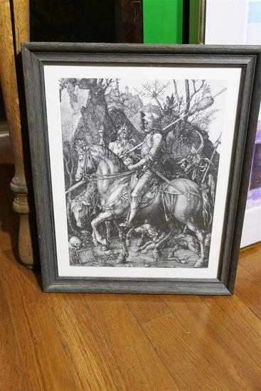 Antique Durer Print Devil, Death, Knight