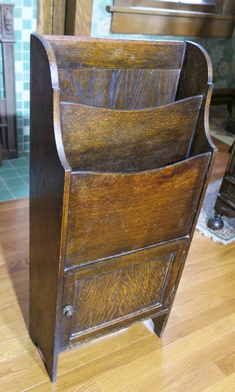 Antique Oak Magazine Rack Cabinet