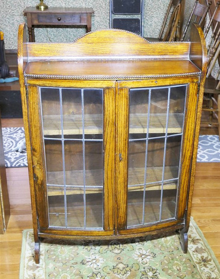 Antique leaded glass bookcase