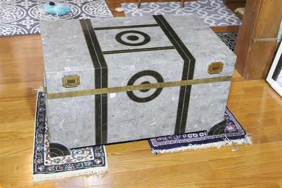 Unusual Art Deco Stone Inlaid Trunk