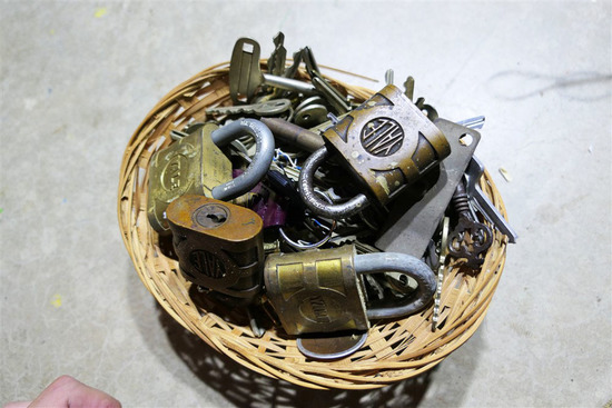Basket full of assorted locks and keys