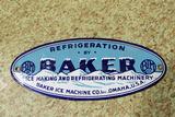 Rare Baker Ice Enamel Sign Pre 1943