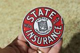Antique Enamel State Auto Insurance Badge