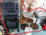 Stereo, stand, wooden pedestals lot