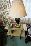 Side table plus lamp, pencil sharpener
