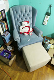 Armchair and footstool lot.