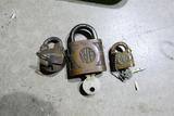 3 Antique Locks Inc. Rare 5 lever