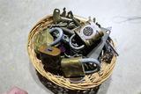 Basket full of assorted locks and keys