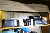 Shelf lot vintage electronics, radios etc.