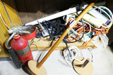 Old Fire Extinguisher, assorted wires