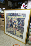 Antique Watercolor Painting Factory Scene 30s