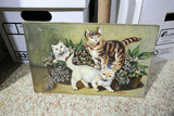 Early Oil on Board Painting of Cats
