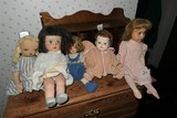 Group of Vintage, Antique Dolls plus chair