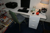 Desk, chair, computer items
