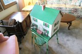 Antique Doll House + Green Table & Chair