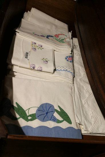 Drawer lot of old pillow cases linens