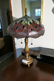 Vintage Leaded Glass Tiffany Style Lamp