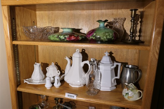 2 Shelf contents inc. painted Belleek
