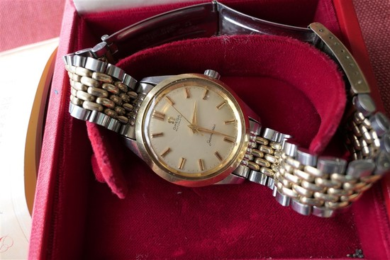Rare Men's Omega Seamaster Automatic two tone band & Box