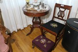 Antique Lyre Form Chair, Stool, Table
