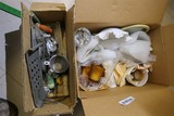 2 Boxes Assorted Old Kitchen, Milk Glass etc
