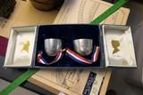 Vintage Patriotic Pewter Cups Set