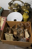 Group Lot of Antique Brass Oil Lamps etc