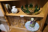 Two Shelves assorted glass, ceramics