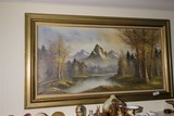 Large oil on canvas painting of an alpine scene