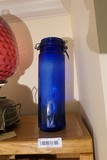 Antique blown glass blue canister