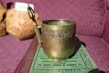 Unusual antique brass shaving mug