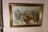 Antique c. 1900 Still life print - Fruit in frame